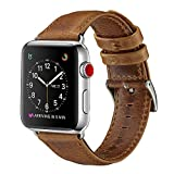 For Apple Watch Band 42mm, OUHENG Retro Vintage Genuine Leather iWatch Strap Replacement for Apple Watch Series 3 Series 2 Series 1 Sport and Edition, Light Brown