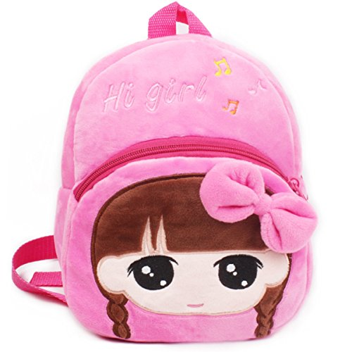 Cilefo Plush Kid's Backpack Beauty Girl Shoulder Bags Gifts for Kids 1-4 Years Old, Girl, Pink
