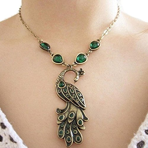 Sinfu Necklace For Women Chain Green Enamel Peacock Pendant Jewelry