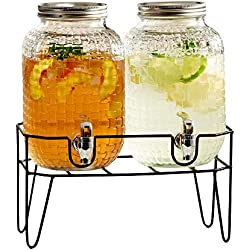 Style Setter Theo 210175-2GB 1 Gallon Each Set of 2 Beverage Dispensers with Metal Stand and Lids, 14.7x13.9, Clear