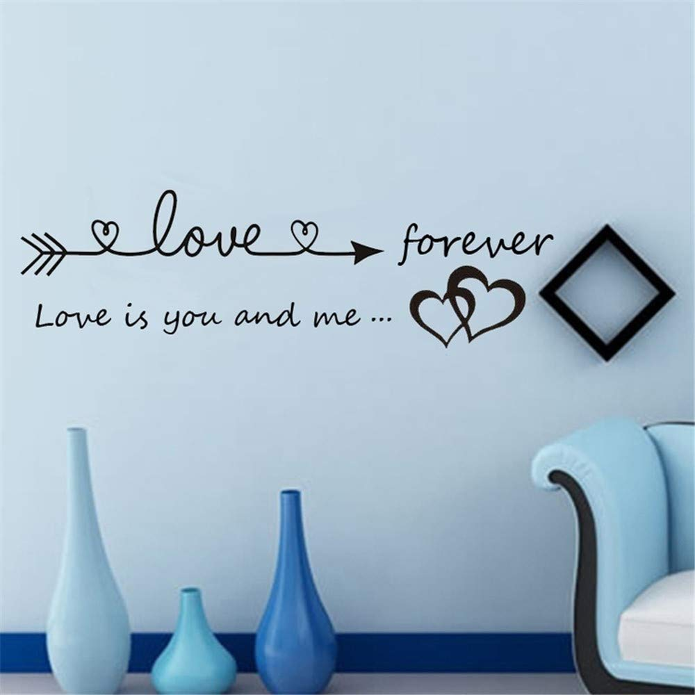 Quaanti Love is You and Me Words Love Heart Home Bedroom Decor Wall Sticker Friend Student Gifts School Office Mural (Black) by Quaanti (Image #4)