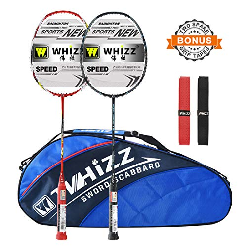 WHIZZ 2 PCS 100% Graphite Badminton Racket Set, Large Badminton Bag / 2 Grip Tapes Included (Black+Red)