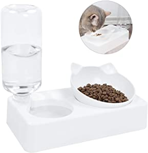 Petlex Gravity Food & Water Bowl for Cats Elevated Cat Bowls, Double Cat Food and Water Bowls, 15°Tilted Raised Bowls for Cats/Dogs