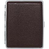 Brown Lizard Print Leather (100s) Nickle-Plated Metal Cigarette Herbal Cigarette Cigar Tobacco Carrying Stash Storage Case