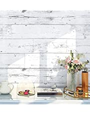 """Self-Adhesive Wood Wallpaper Peel and Stick Shiplap Light Blue/White Distressed Wood Plank Removable Wallpaper Waterproof PVC Removable Home Decorative 17.7""""x 118.1"""""""