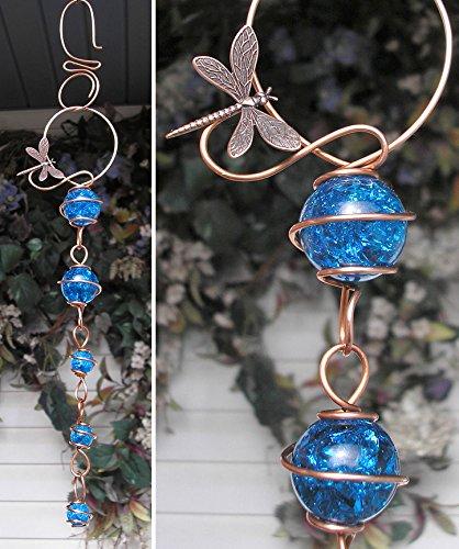 Dragonfly Suncatcher Cascade - Metal Sculpture - Glass Copper Art - Yard Lawn Outdoor Pond Decor Aqua