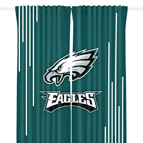 LEMOISTARS NFL Team Blackout Curtain Panels for Living Room,Bedroom, Basement Window Drapes 2 Panel Set (Philadelphia Eagles Curtains)