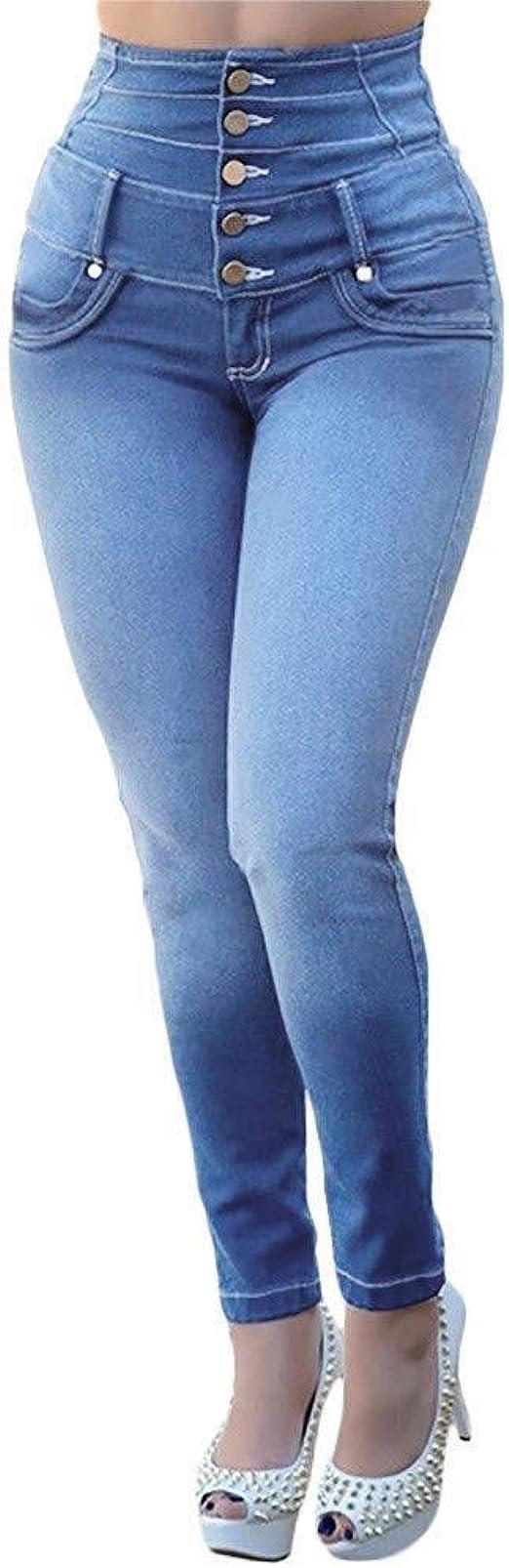 HX fashion パンツレディース大きいサイズハイウエストスキニージーンズロングエレガントストレッチカジュアルパンツ女の子デニムファッション