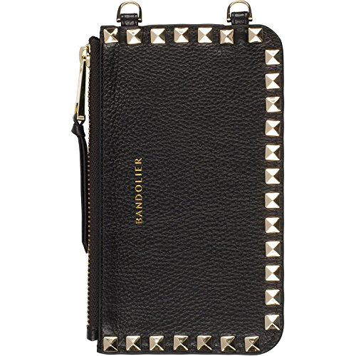Bandolier [Sarah] Pouch Attachment in Black Leather w/Gold Studded Details. Purse for Credit Cards & Essentials. Attach to Bandolier Case to Customize.