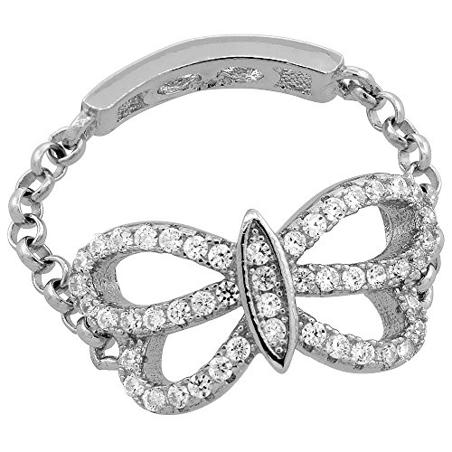 Sterling Silver Cubic Zirconia Butterfly Ring Micro Pave Chain Shank 3/8 inch Long, size (0.375 Shank)