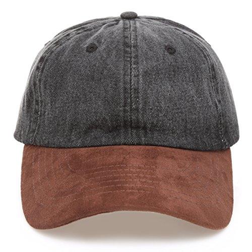 MIRMARU Casual 100% Cotton Denim Baseball Cap Hat with Adjustable Strap.(1161-BLACK)