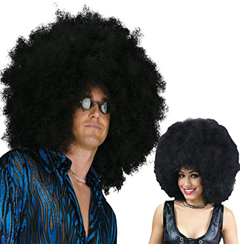 Beautyself Mega Black Afro Wigs for Men and Women -70s Unisex Jumbo Costume Funny Party Big Afro Wigs (Black) -