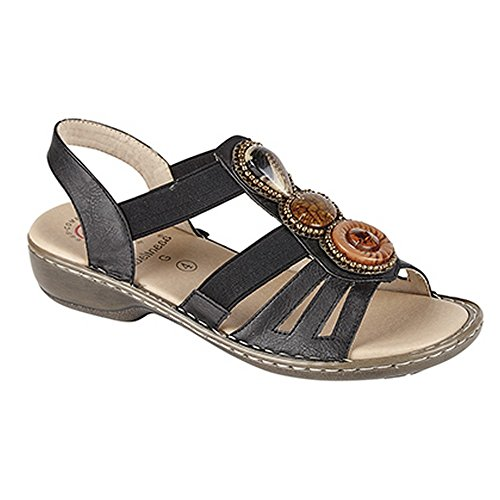Wellness Womens/Ladies Elasticated Halter Back Summer Sandals Bronze VUWgfl4pkA