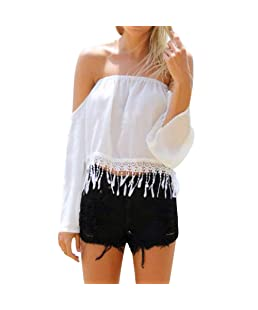 XUANOU Women's Chiffon Tassel Twill Neck Long Sleeve T-Shirt Top Ladies Off-Shoulder Slash Tops Blouse Embroidery Crop Tops White