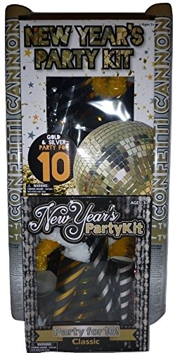 NEW YEAR 2018 or Party On ANY Occassion - 20 person Party Kit with GIANT Confetti Cannons with classic gold, silver, and black color scheme celebration pack ~ USA SELLER - Shipping Cannon