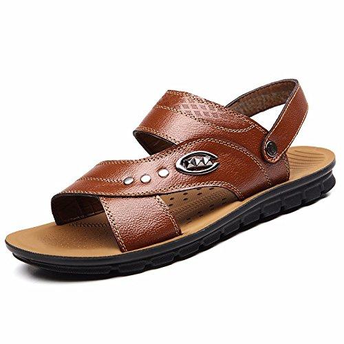 Sommer Echtleder Sandalen Männer Strand Schuh Männer Sandalen Männer Schuh Atmungsaktiv Freizeit Schuh Männer Trend ,GelbC,US=8,UK=7.5,EU=41 1/3,CN=42