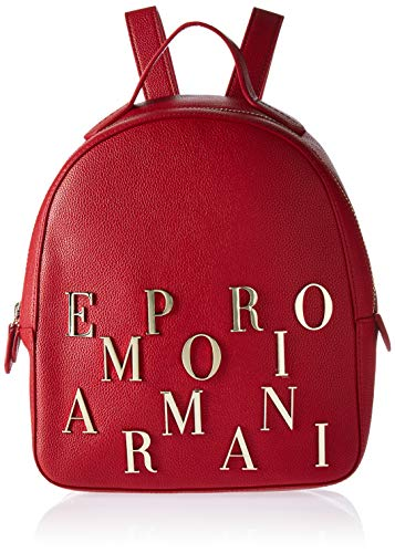 (Emporio Armani Logo Backpack, Ruby red)