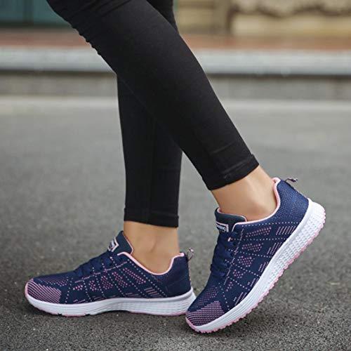 Sneaker Deportes Azul Mujer Casual de Malla Zapatos Zapatillas Plataforma tqgTf