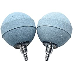 """Pawfly 2"""" Updated Crazy Air Stone Plus Bubble Ball Diffuser for Fish Tank Aquarium Hydroponics Pump, 2 Pack"""