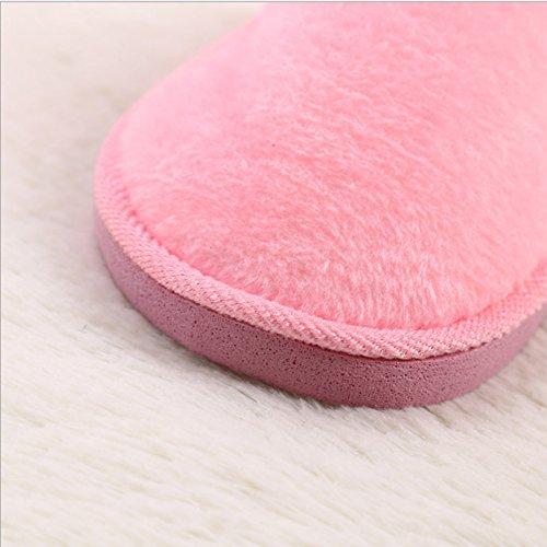 Femmes Solide Rose Doux Super Intérieur Hiver Pantoufles Chaudes