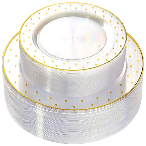 WDF 102pcs Gold Plastic Plates -Clear with Dot Design Crystal Disposable Wedding Party Plastic Plates include 51 Plastic Dinner Plates 10.25inch,51 Salad/Dessert Plates 7.5inch ()