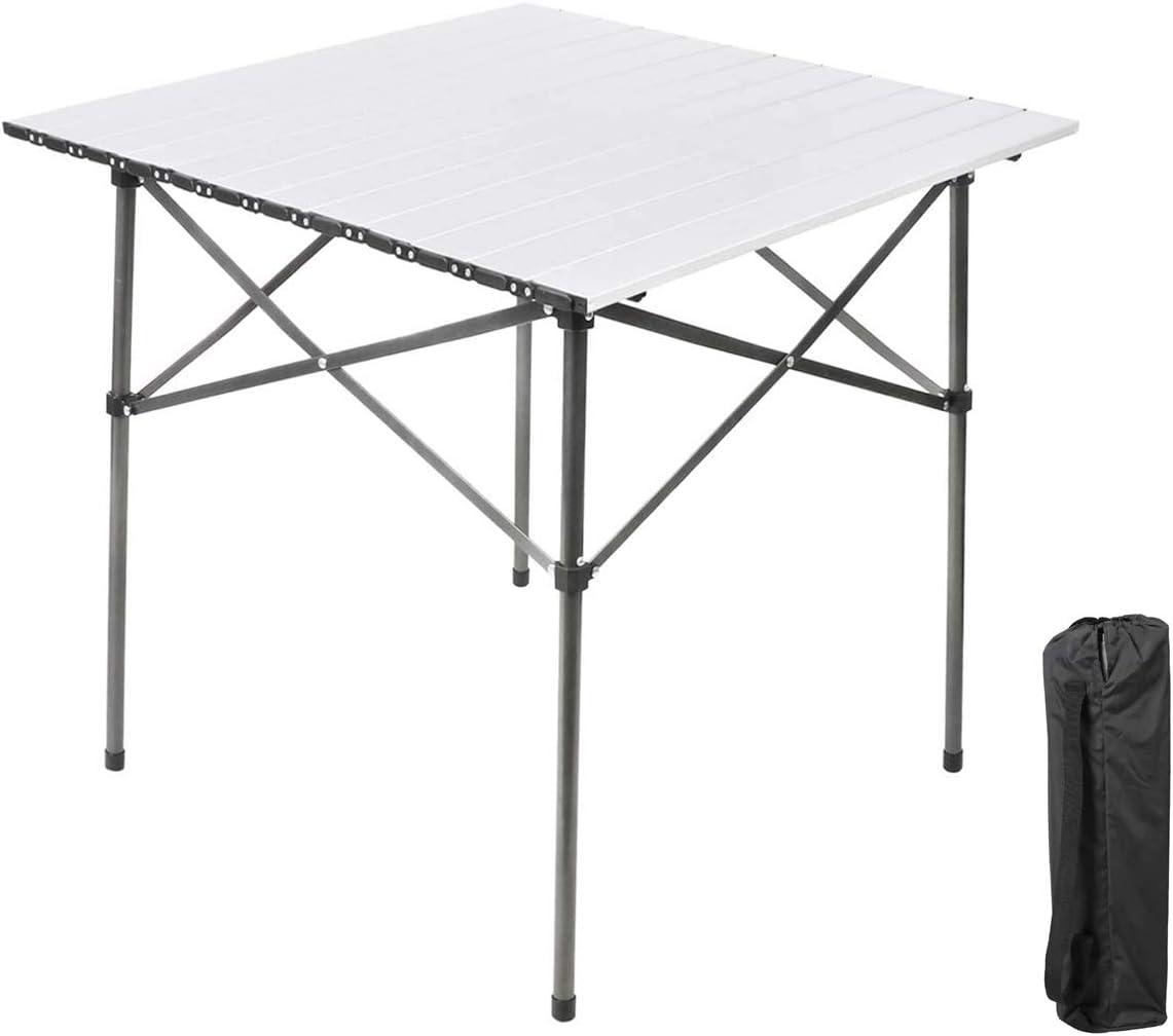 Ever Advanced Mesas de Acampada Plegable Aluminio Ligero para 4 Personas Mesa Compacta con Bolsa de Transporte para Picnic Patios Barbacoas Blanco