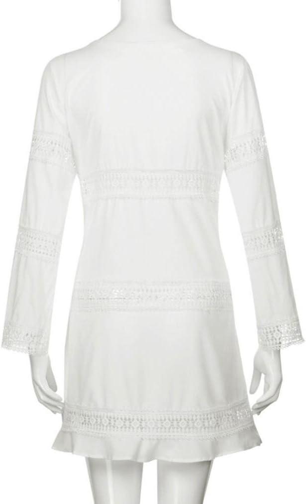 Women Summer Beach Short Mini Dress Plus Size Cuekondy Casual 3//4 Sleeve Loose Lace Cover Up Dresses