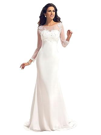 Annxrose Damen Halbe /Ärmel Off-The-Schulter Perlstickerei Appliques T/üll Lange A-Linie Brautkleid Hochzeitskleid