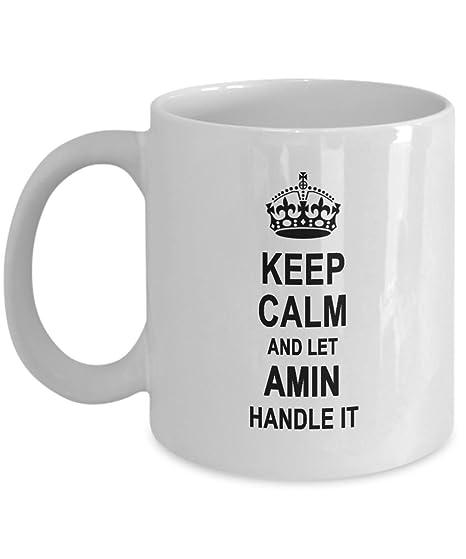 Amazon.com: Keep Calm And Let mango de Amin it Taza de café ...