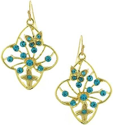Gold-Tone Aqua Filigree Flower Drop Earrings