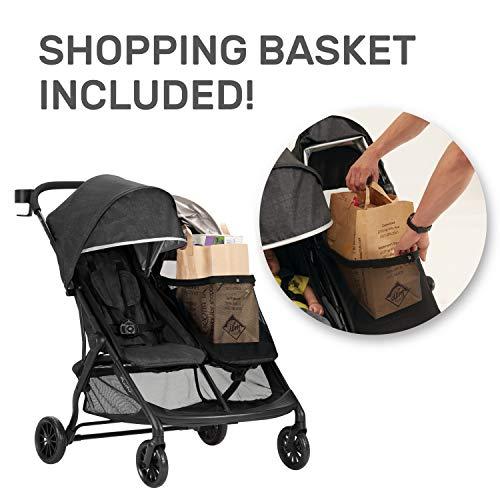51EjMCwNOjL - Evenflo Aero2 Ultra-Lightweight Double Strollers, Compact, Self-Standing Folding Design, Shopping Basket Single-Child Mode, Seatback Storage Pocket, 2 Mesh In-Seat Pockets, 50-lb Per Seat, Osprey Gray