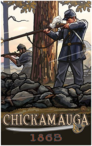 Chickamauga Geogia Civil War Rifleman Travel Art Print Poster by Paul A. Lanquist (30