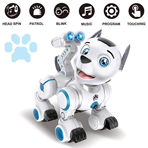fisca Remote Control Robotic Dog RC Interactive Intelligent Walking Dancing Programmable Robot Puppy Toys Electronic Pets with Light and Sound for Kids Boys Girls Age 6, 7, 8, 9, 10 and Up Year Old by fisca (Image #1)