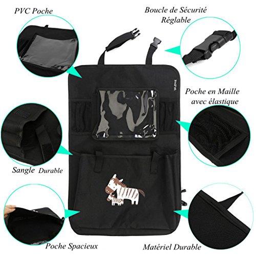 Protège Siège Voiture - Housse de Siège Arrière Protecteur avec des poches pour accessoires - Pour Protéger le siège entier contre les taches - Vendu par IntiPal