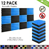 Arrowzoom New 12 Pieces of (25 X 25 X 5 cm) Insulation Wedge Acoustic Wall Foam Padding Studio Foam Tiles AZ1134 (Black & Blue)