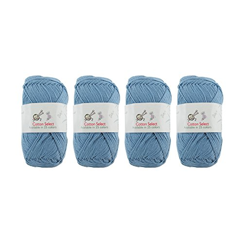 Cotton Select Sport Weight Yarn - 100% Fine Cotton - 4 Skeins - Col 004 - Little Boy Blue ()