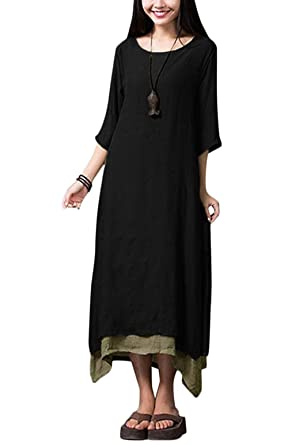 aabdc4eee2d Romacci Women Vintage Dress Split Irregular Hem Casual Loose Boho Long Maxi Dresses  Orange/Army Green/Coffee/Burgundy/Black: Amazon.co.uk: Clothing