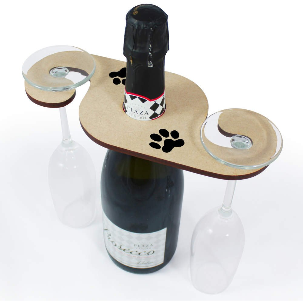 Azeeda 'Pawprint' Wooden Wine Glass / Bottle Holder (GH00016579)