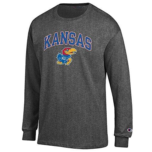 Elite Fan Kansas Jayhawks Men's Long Sleeve Arch Tee Shirt, Dark Heather, Large