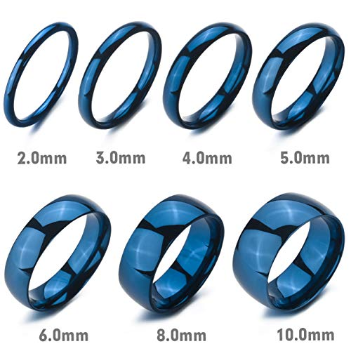 MeMeDIY 10mm Blue Stainless Steel Ring Band Wedding Love Size 12 - Customized Engraving by MeMeDIY (Image #4)