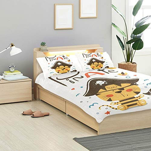 KVMV Cute Baby Tiger Pirate Suit Cartoon Duvet Cover Set Design Bedding Decoration Twin XL 3 PC Sets 1 Duvets Covers with 2 Pillowcase Microfiber Bedding Set Bedroom Decor Accessories