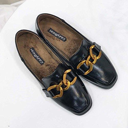T-juli Dames Oxfords Loafer Comfort Gesp Slip Op Schoenen Causale Lichtgewicht Chic Platte Schoenen Zwart