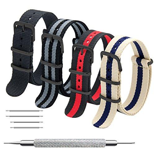 CIVO NATO Strap 4 Packs - 20mm 22mm Premium Ballistic Nylon Watch Bands Zulu Style with Stainless Steel Buckle ((Black Buckle) Black+Black Grey+Black Red+Linen Navy, 22mm)