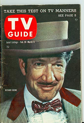 1959 TV Guide Feb 28 Richard Boone of Have Gun Will Travel - New England Edition Excellent to Mint (6 out of 10) Lightly Used by Mickeys Pubs