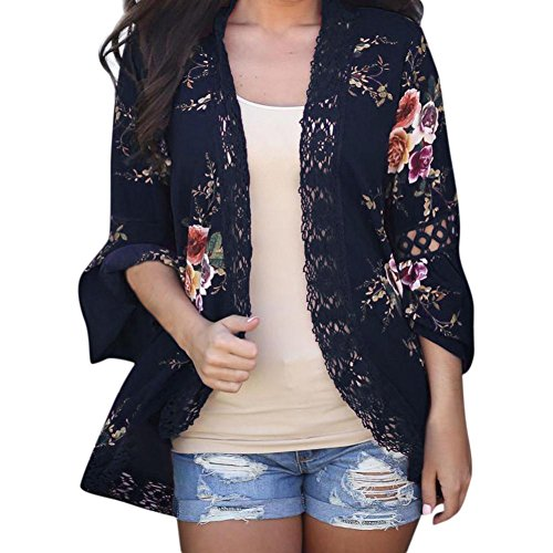 Gillberry Women's Sheer Chiffon Blouse Loose Tops Kimono Floral Print Cardigan with Lace (Navy, L)