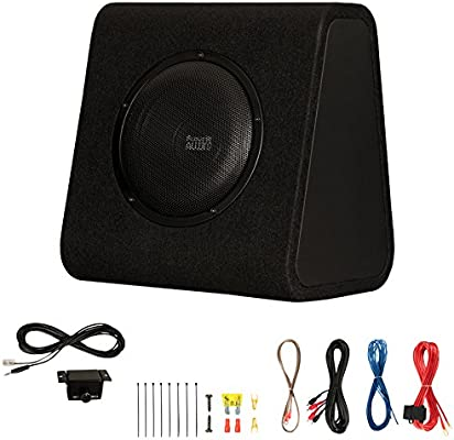 Acoustic Audio by Goldwood ACA8WG Powered Amplified 8 Car Ported Subwoofer 600W with Wiring Kit and Remote Level Control Black Goldwood Sound Inc.