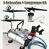 New Pro 3 Airbrush & Compressor Kit Dual-Action Air Brush Set with Regulator