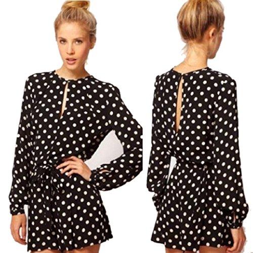 Bestpriceam® Women Jumpsuit Polka Dot Long Sleeve Short Pants Rompers Siamese Pants (L, Black)