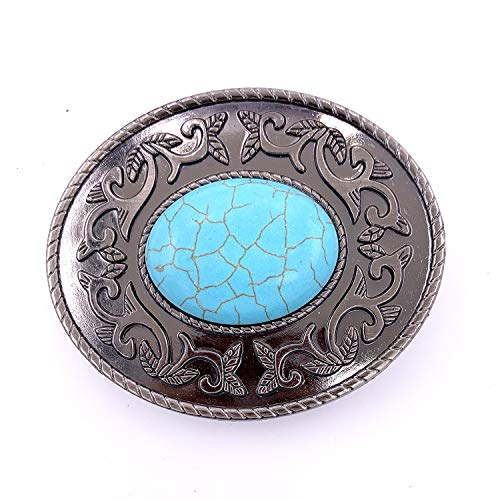 Lanxy Vintage Western Cowboy Oval Turquoise Belt Buckle For Men Grey Tone