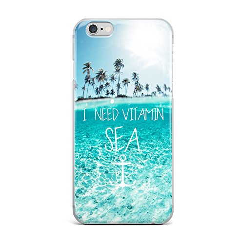 Tropical Beach Quote and Saying I need Vitamin Sea Palm Tree Blue Clean Ocean Aloha Summer Soft Rubber Iphone 6,6s Case